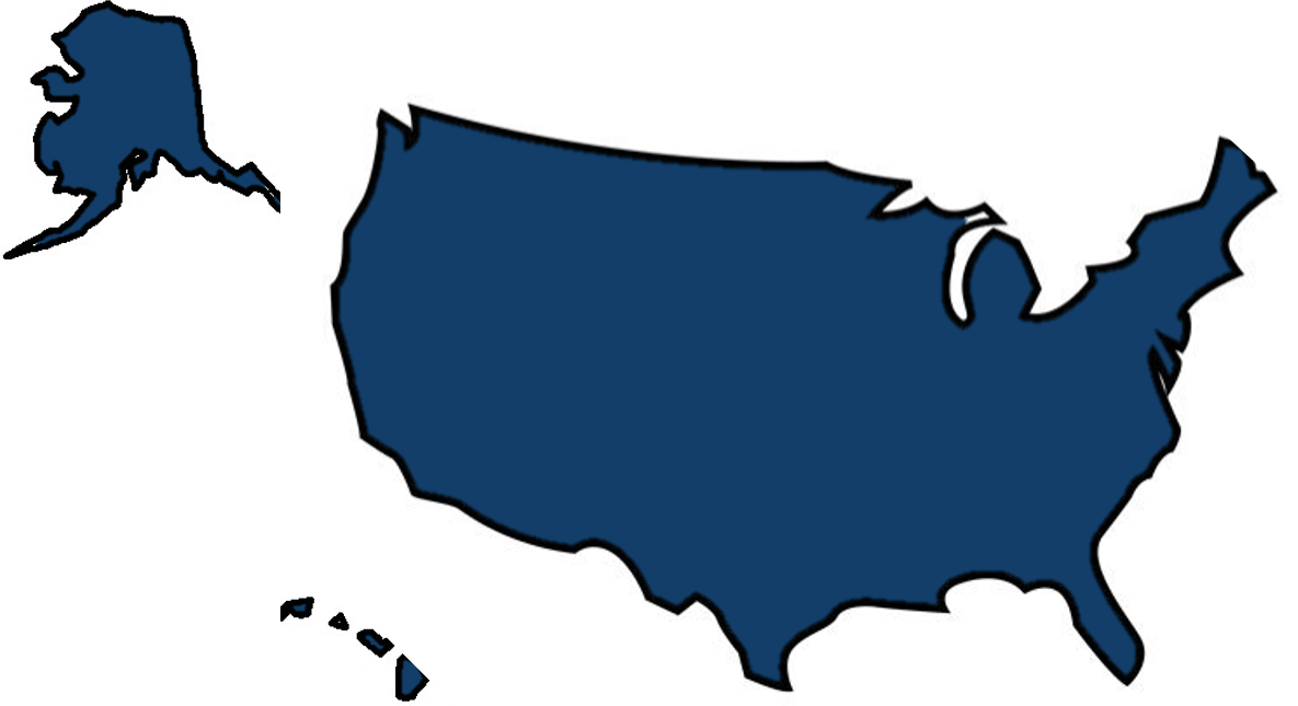 AMERICA OUTLINE blue white background