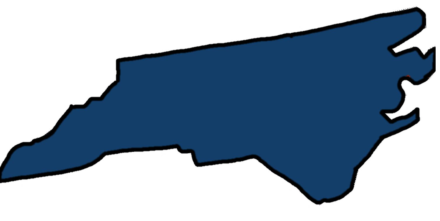 blue NC outline white back